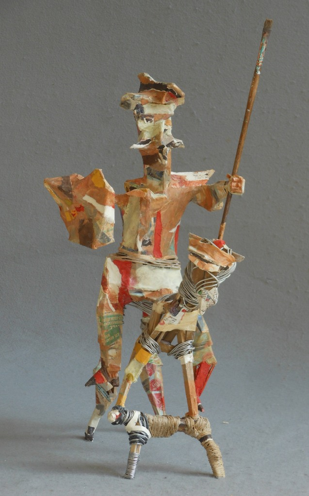 """A Man Who Seeks the Impossible wood, wire, string, paper, paintbrush 22""""x 12""""x 15"""""""