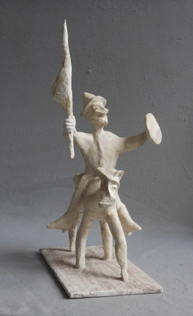 "An Inventive Victory wood, paper, plaster, paint 31""x 20""x 16"""