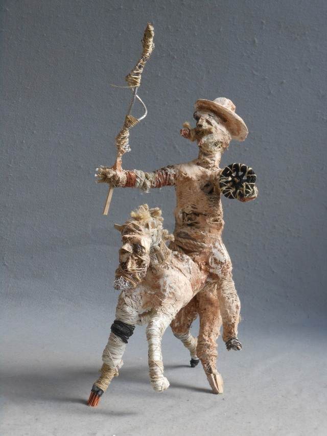 wood, wire,string, copper,plastic,plaster, paint