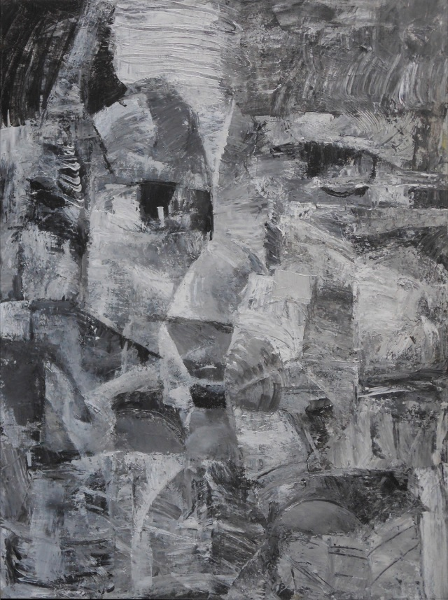 "Cubist Portrait #3,   2014 acrylic on canvas,  40x30"""