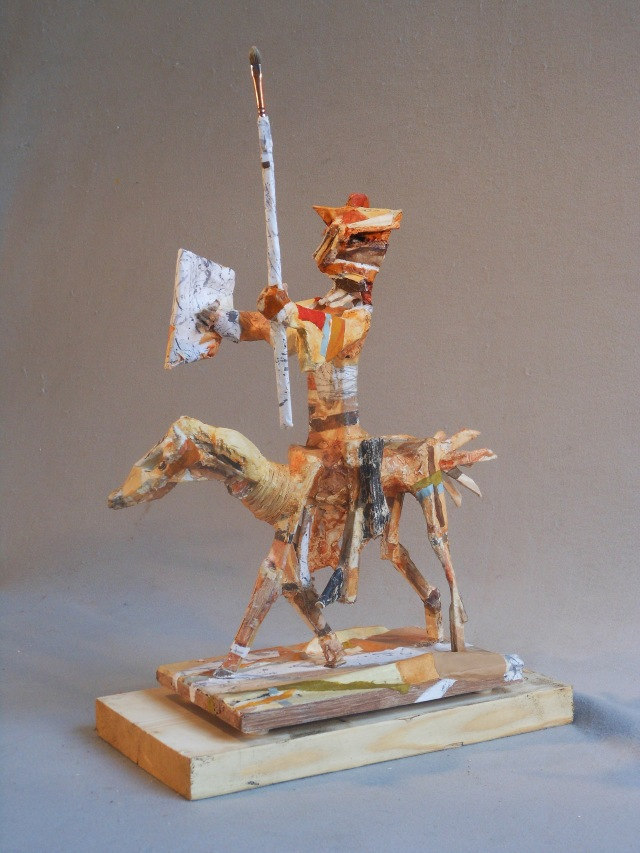 "Adventuring Knight, 2014 Mixed Media (wood, metal, polymer, paper, paint) 24H"" x 9""W x 17""D"